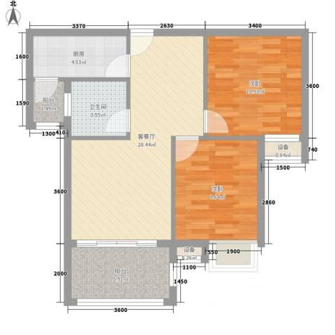 海南大溪地住宅小区2室1厅1卫1厨79.00㎡户型图