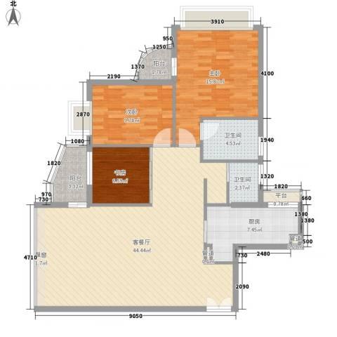碧水明筑3室1厅2卫1厨134.00㎡户型图