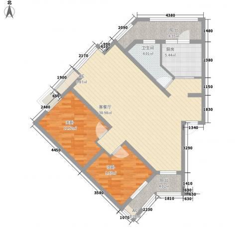 丹桂苑2室1厅1卫1厨95.00㎡户型图