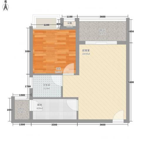 海南大溪地住宅小区1室0厅1卫1厨57.00㎡户型图