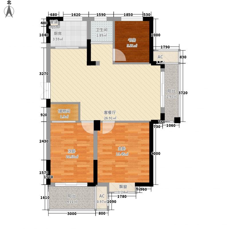 公园一号105.00㎡公园一号户型图Q2-1户型3室2厅1卫1厨户型3室2厅1卫1厨
