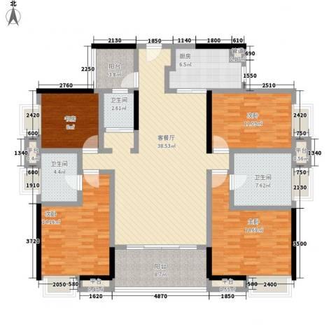 万科金域松湖4室1厅3卫1厨166.00㎡户型图