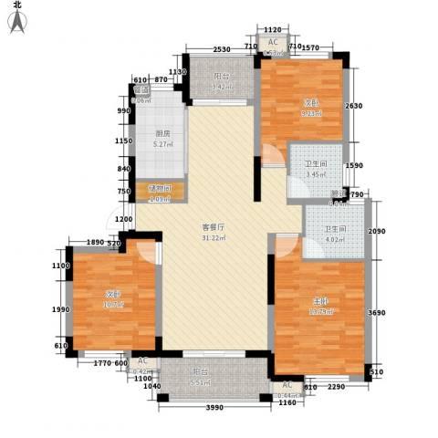 浦发领秀城3室1厅2卫1厨129.00㎡户型图