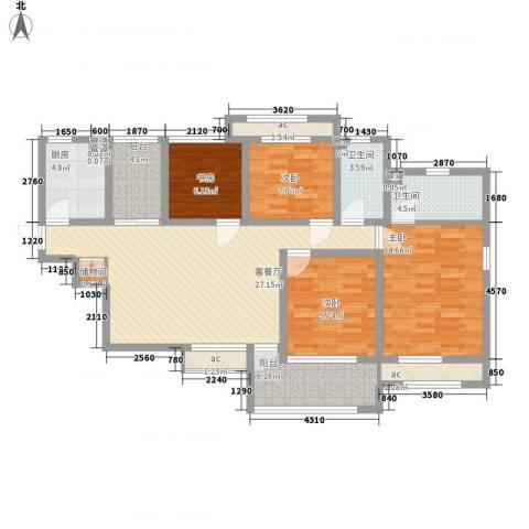 龙湖滟澜山4室1厅2卫1厨141.00㎡户型图