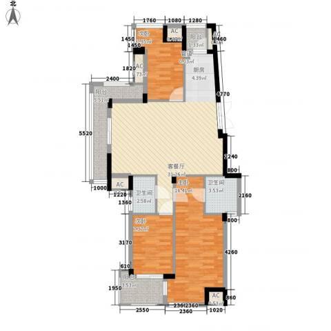 东鼎世纪3室1厅2卫0厨119.00㎡户型图