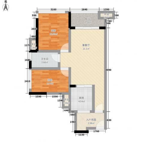 万科金域松湖2室1厅1卫1厨79.00㎡户型图
