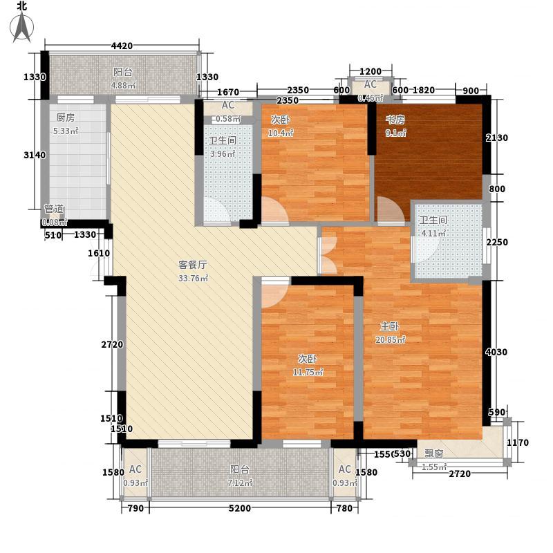 公园一号163.00㎡公园一号户型图Q1-3户型4室2厅2卫1厨户型4室2厅2卫1厨