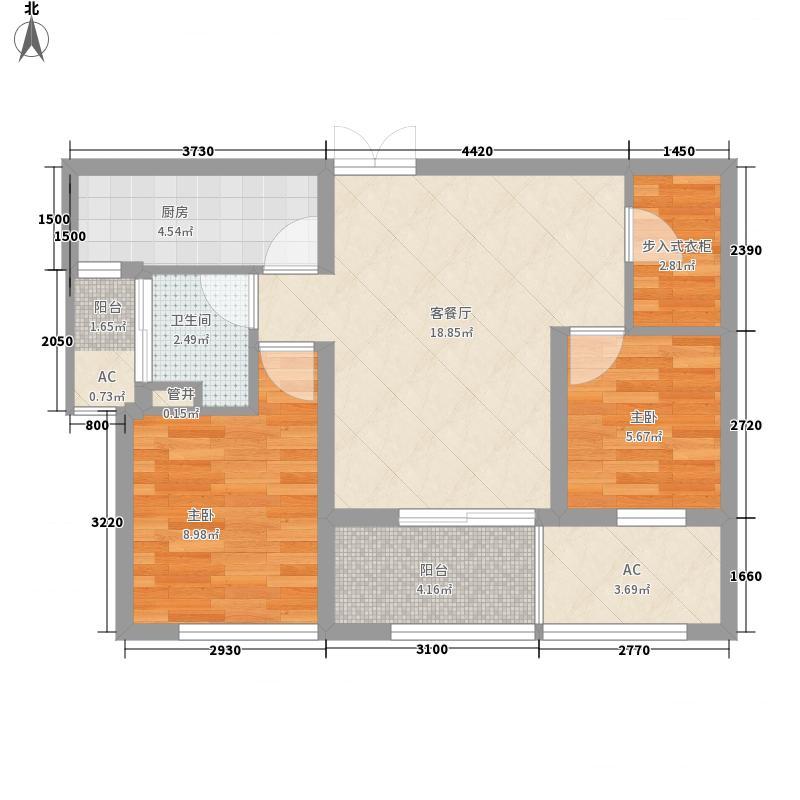 荣域花园78.00㎡小高层1-6#K面积7800m户型