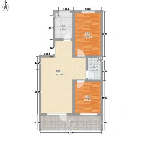 王冠花园2室1厅1卫1厨87.00㎡户型图
