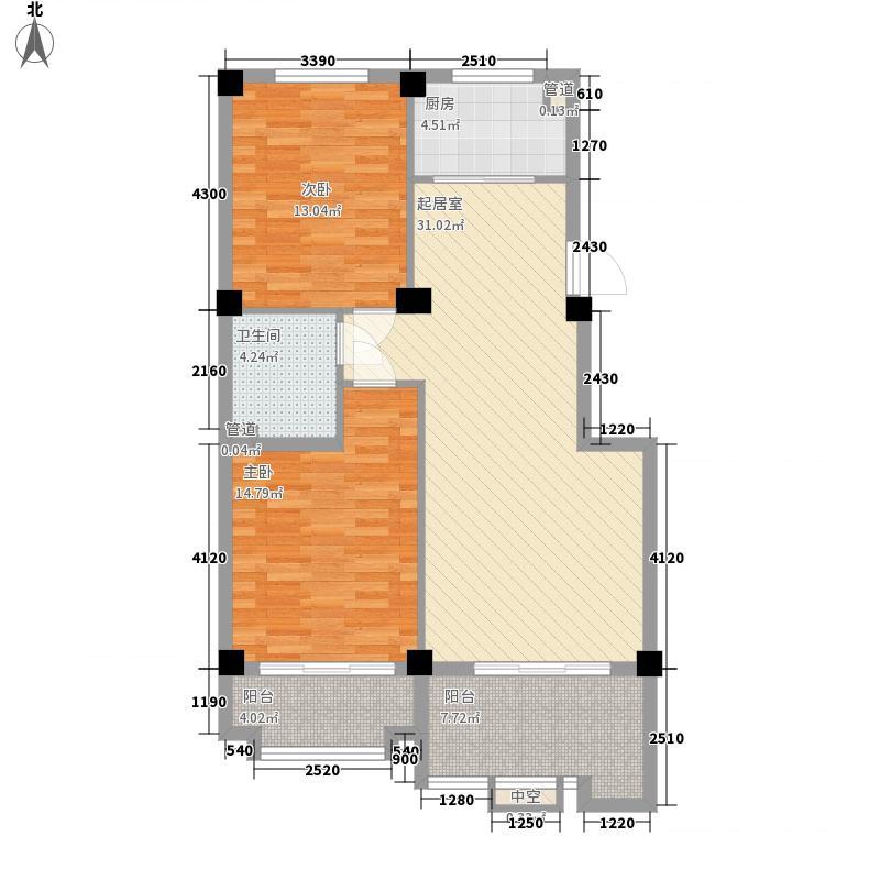 伴月湾星天地住宅A户型2室2厅1卫1厨