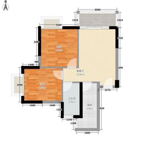 东方海湾涛�国际2室1厅1卫1厨69.00㎡户型图