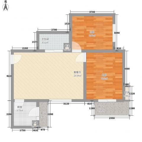 长风新城公元20102室1厅1卫1厨84.00㎡户型图