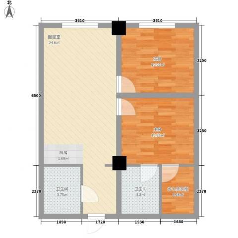 黎明生活坊2室0厅2卫0厨80.00㎡户型图