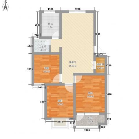 雅荷春天3室1厅1卫1厨80.00㎡户型图