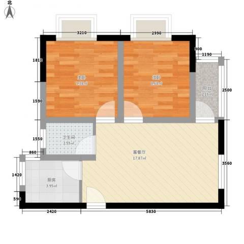 东方海湾涛�国际2室1厅1卫1厨71.00㎡户型图