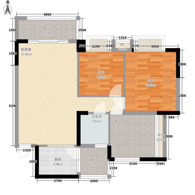 御品泰景72.00㎡12栋04户型2室2厅1卫1厨