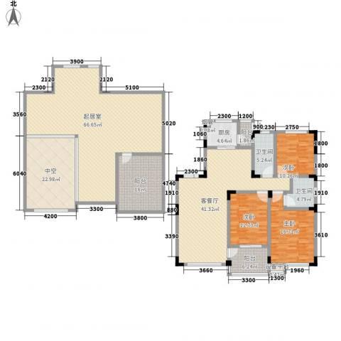 东田青年城3室1厅2卫1厨209.92㎡户型图
