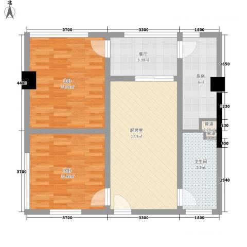 华凤国际2室1厅1卫1厨81.00㎡户型图