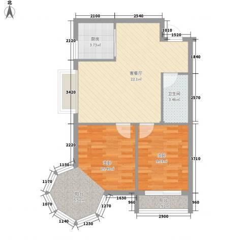 龙泉国际2室1厅1卫1厨79.00㎡户型图