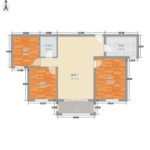 新兴骏景园二期3室1厅1卫1厨111.00㎡户型图