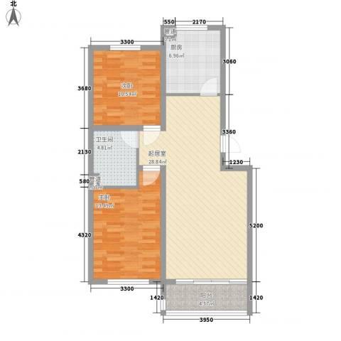 示范・和平家园二期2室0厅1卫1厨96.00㎡户型图