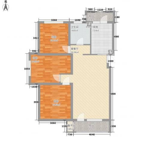 中信御园3室1厅1卫1厨122.00㎡户型图