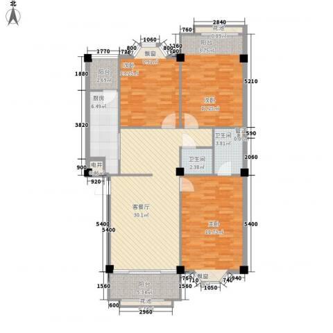 大唐长风一期3室1厅2卫1厨142.00㎡户型图