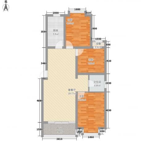 北辰商务花园3室1厅1卫1厨106.00㎡户型图