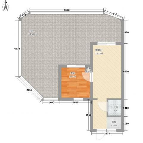 平海逸龙湾1室1厅1卫0厨80.00㎡户型图
