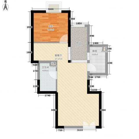 新兴骏景园二期1室1厅1卫1厨60.00㎡户型图