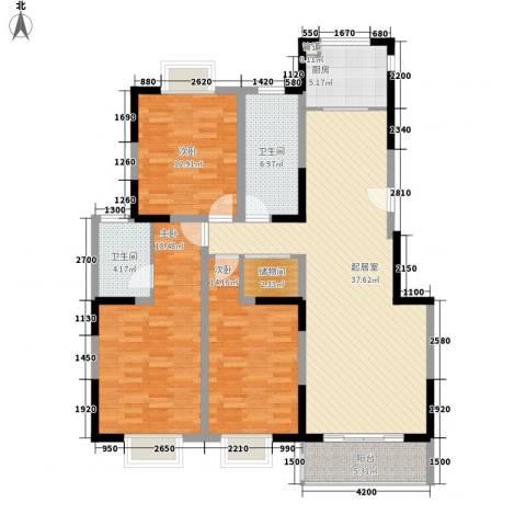 扬子佳竹苑3室0厅2卫1厨153.00㎡户型图