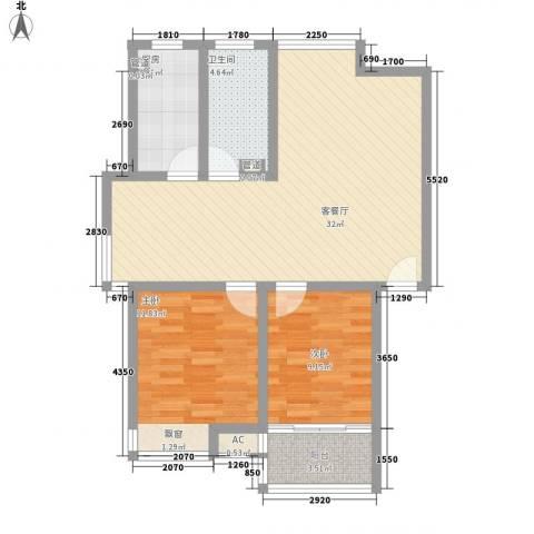 御河苑2室1厅1卫1厨97.00㎡户型图