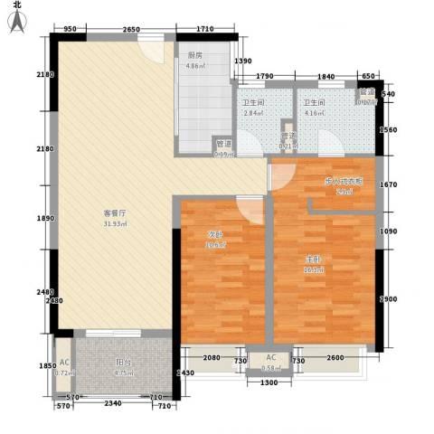 壹号公馆2室1厅2卫1厨110.00㎡户型图