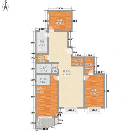 欣中爱丁堡项目3室1厅2卫1厨134.00㎡户型图