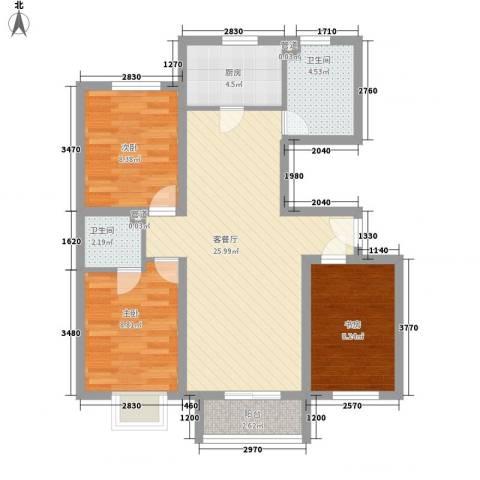常乐广场3室1厅2卫1厨76.00㎡户型图