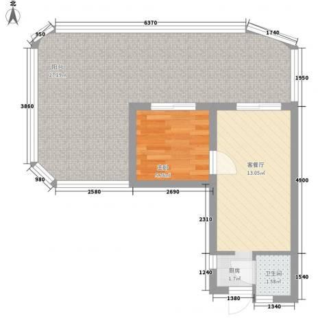 平海逸龙湾1室1厅1卫0厨68.00㎡户型图