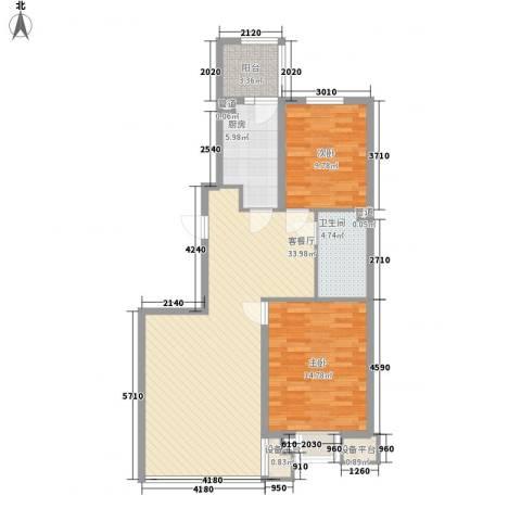 阳光绿景2室1厅1卫1厨106.00㎡户型图