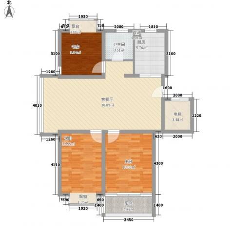 御河苑3室1厅1卫1厨118.00㎡户型图
