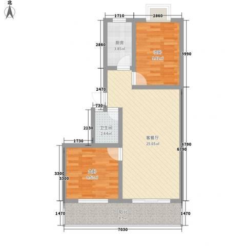 宏福佳园2室1厅1卫1厨86.00㎡户型图
