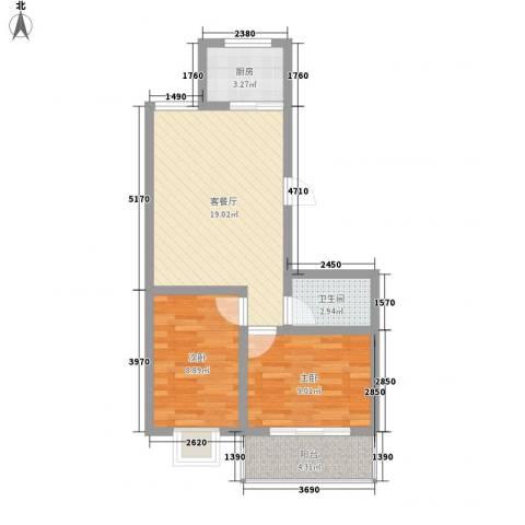 宏福佳园2室1厅1卫1厨69.00㎡户型图
