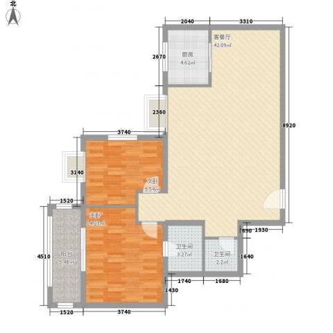 新兴骏景园二期2室1厅2卫1厨114.00㎡户型图