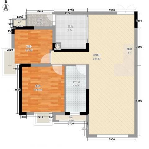 保兴里2室1厅1卫1厨80.00㎡户型图