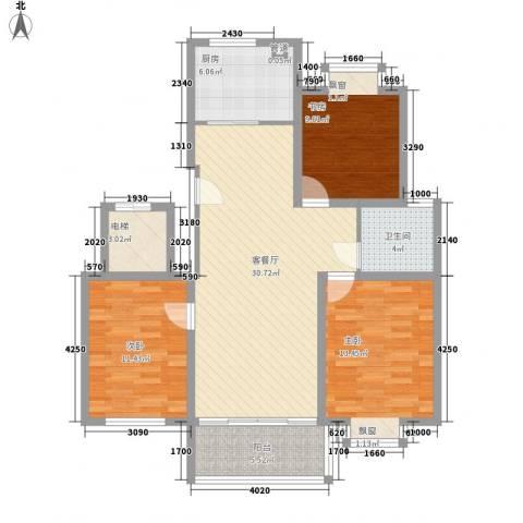 御河苑3室1厅1卫1厨120.00㎡户型图