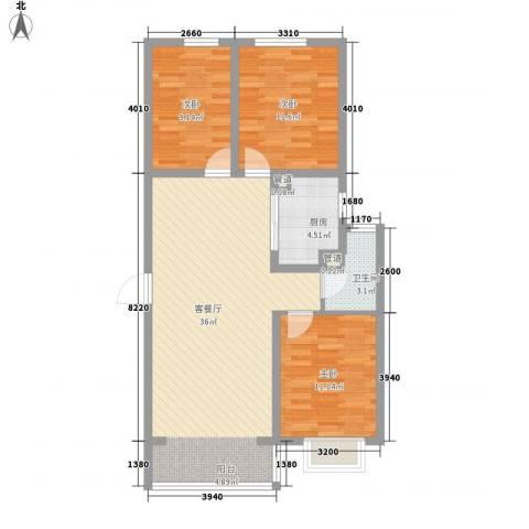北辰商务花园3室1厅1卫1厨108.00㎡户型图