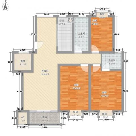 御河苑3室1厅2卫1厨133.00㎡户型图