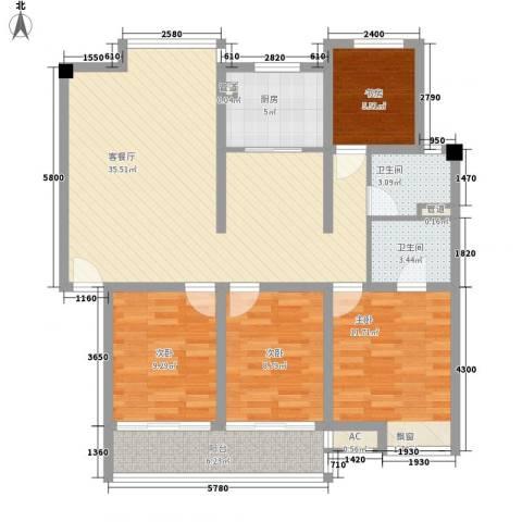 御河苑4室1厅2卫1厨130.00㎡户型图