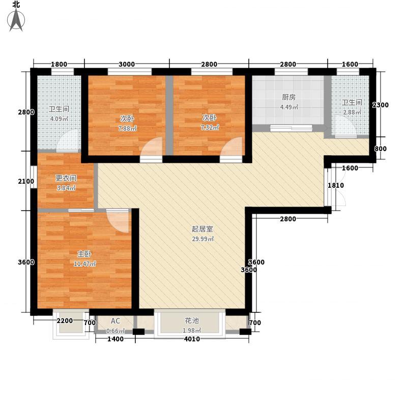 亚欧国际风情街11.00㎡户型3室2厅1卫1厨
