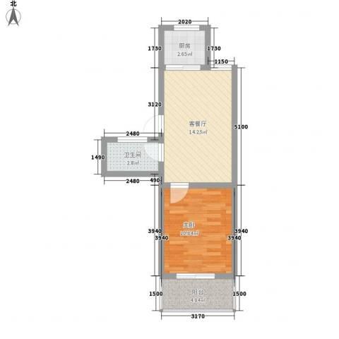 宏福佳园1室1厅1卫1厨51.00㎡户型图