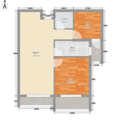 龙泉国际2室1厅1卫1厨83.00㎡户型图