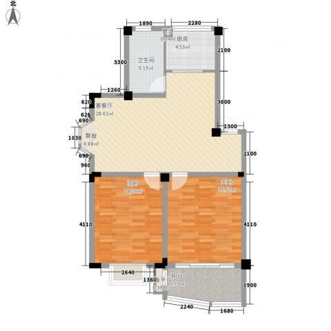 扬子佳竹苑2室1厅1卫1厨105.00㎡户型图